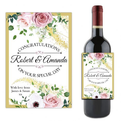 Personalised Wedding Congratulations Wine / Champagne Bottle Label N180